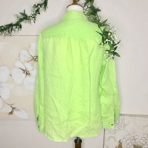 Charter Club Tops - Charter Club | Luxury Linen Lime Green Button Down